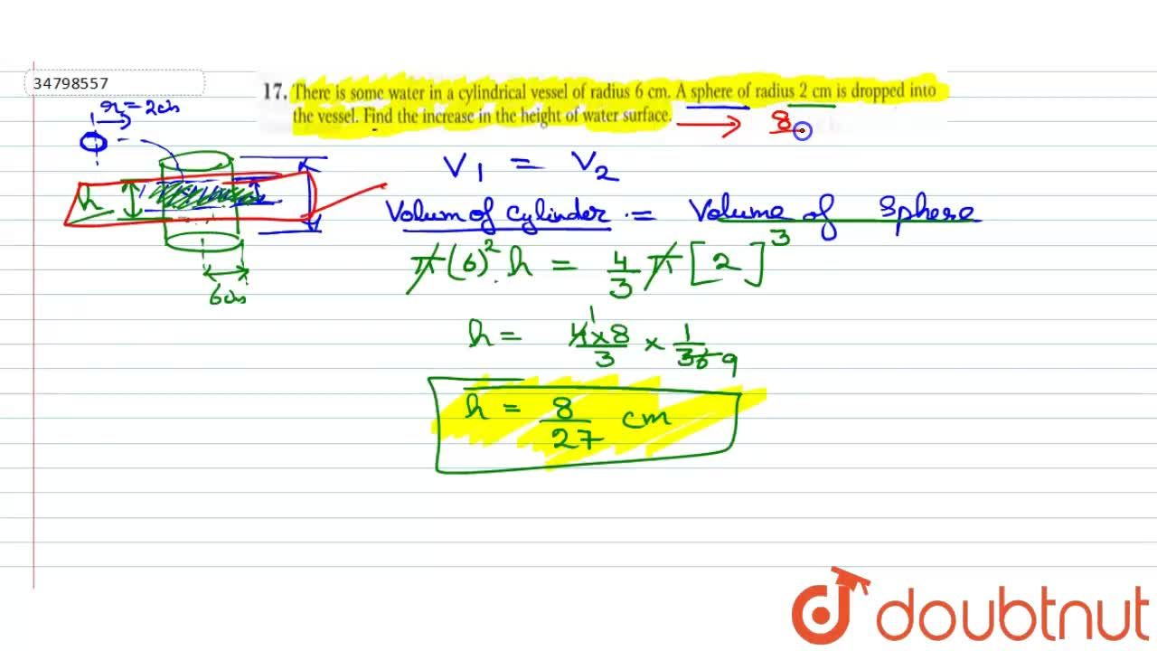 Solution for There is some water in a cylindrical vessel of rad