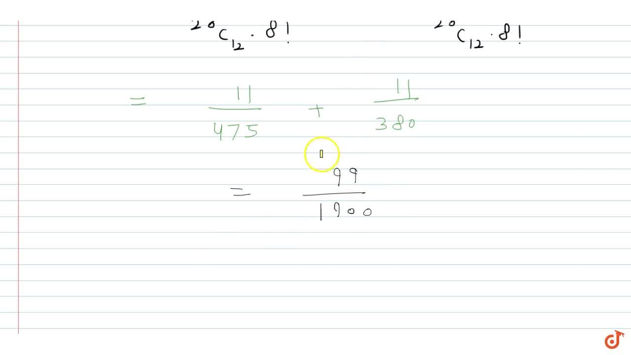 Solution for  A lot contains 20 articles. The probability that