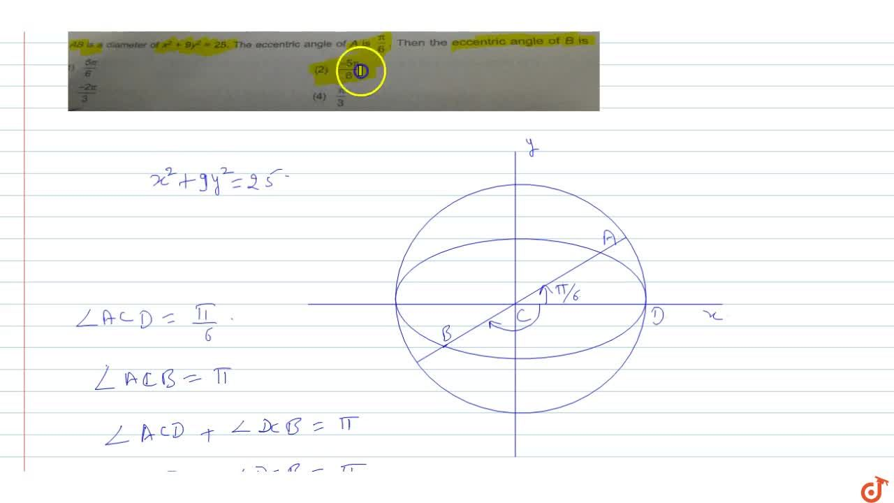 Solution for AB is a diameter of  x^2 + 9y^2=25. The eccentri
