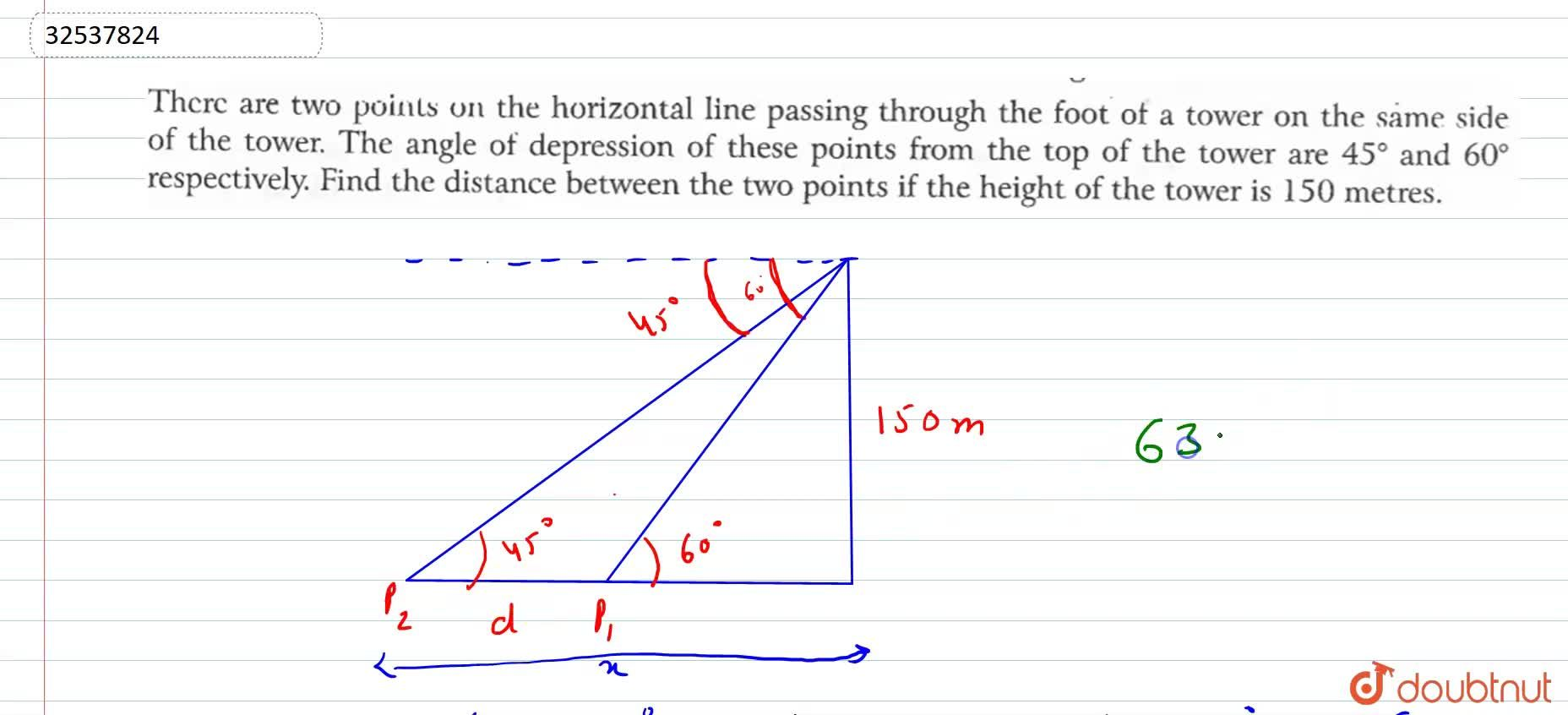 Solution for There are two points on the horizontal line passin