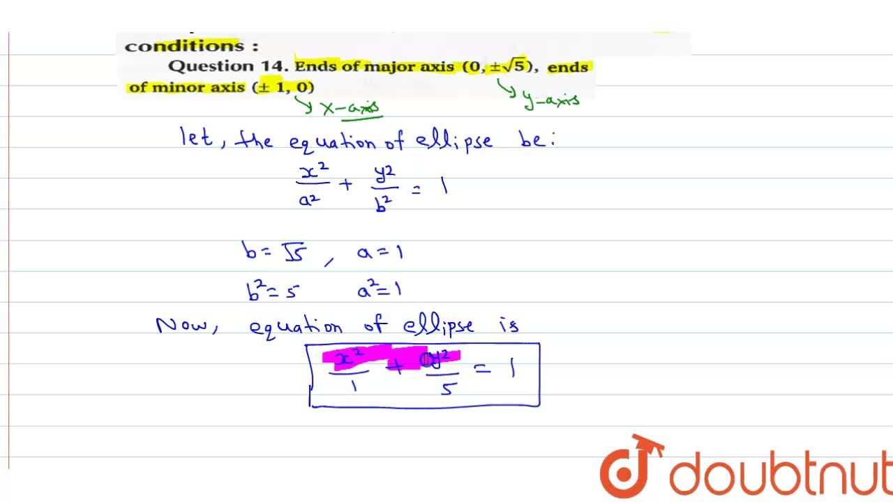 Solution for Find the equation of the ellipse that satisfies th