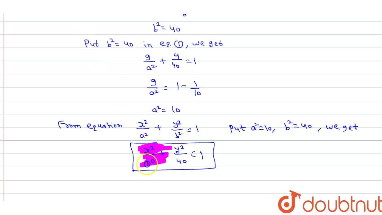 Solution for Centre at (0,0) major axis on the y-axis passes th