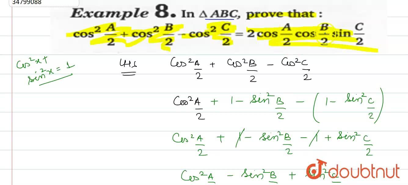Solution for In DeltaABC, prove that <br> cos^(2)A,2+cos^(2)