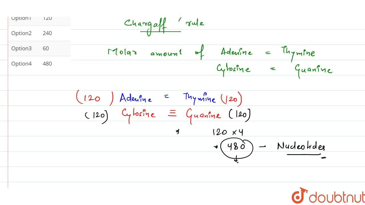 Solution for A segment of DNA has 120 adenine and 120 cytosine