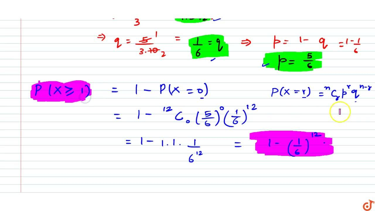 Solution for  The mean and variance of a binomial distribution