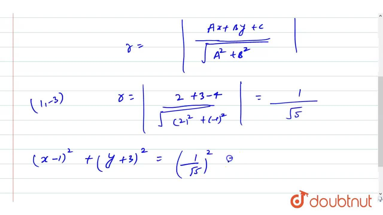 Find the equation of a circle with centre (1,-3) and touches the line 2x-y-4=0.