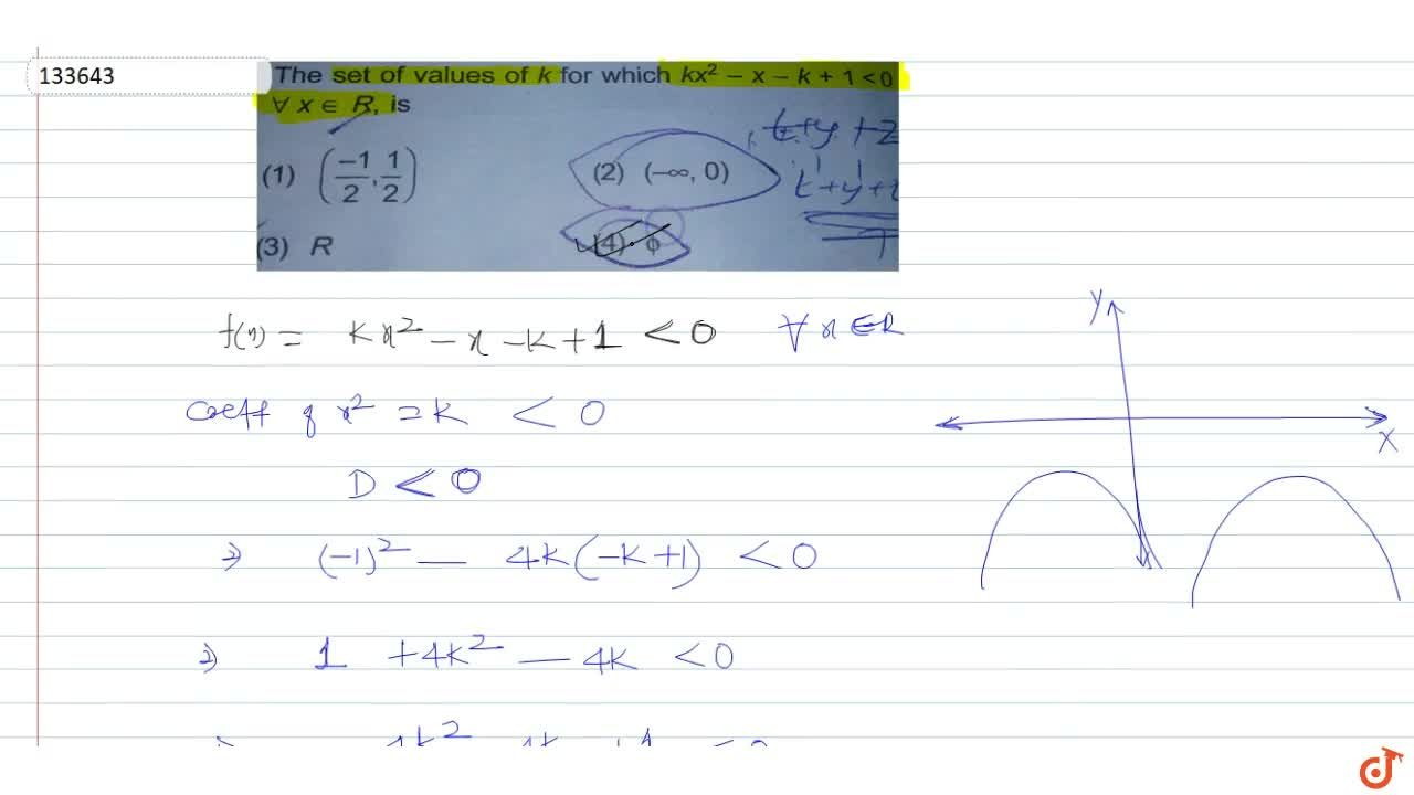 Solution for The set of values of k for which  kx^2 - x-k+1< 0
