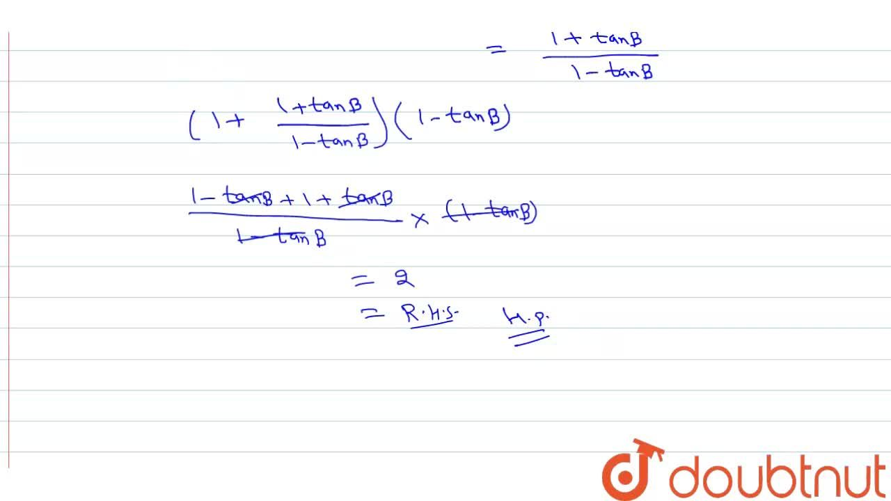 Solution for If A-B=pi,4, then prove that: <br> (1+tanA)