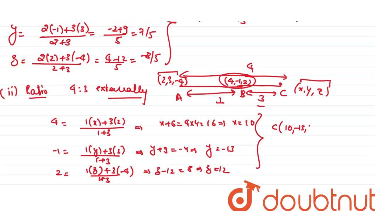 Solution for Find the co-ordinates of the point which divides t