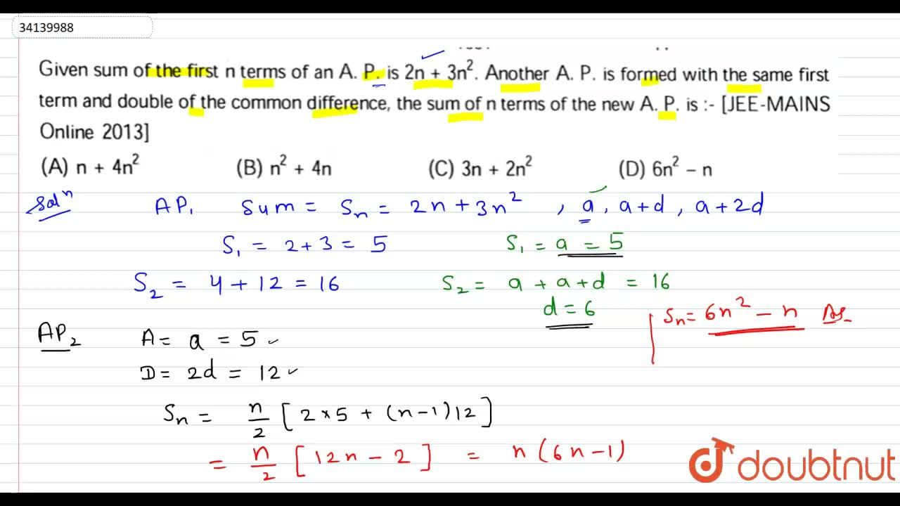 Solution for Given sum of the first n terms of an A.P  is 2n