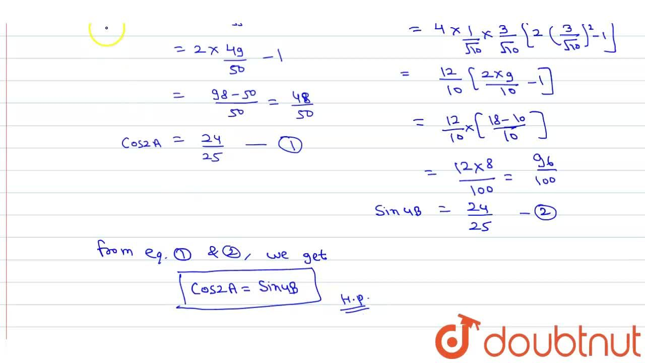 Solution for If tanA=1,7 and tanB=1,3, prove that: <br> co