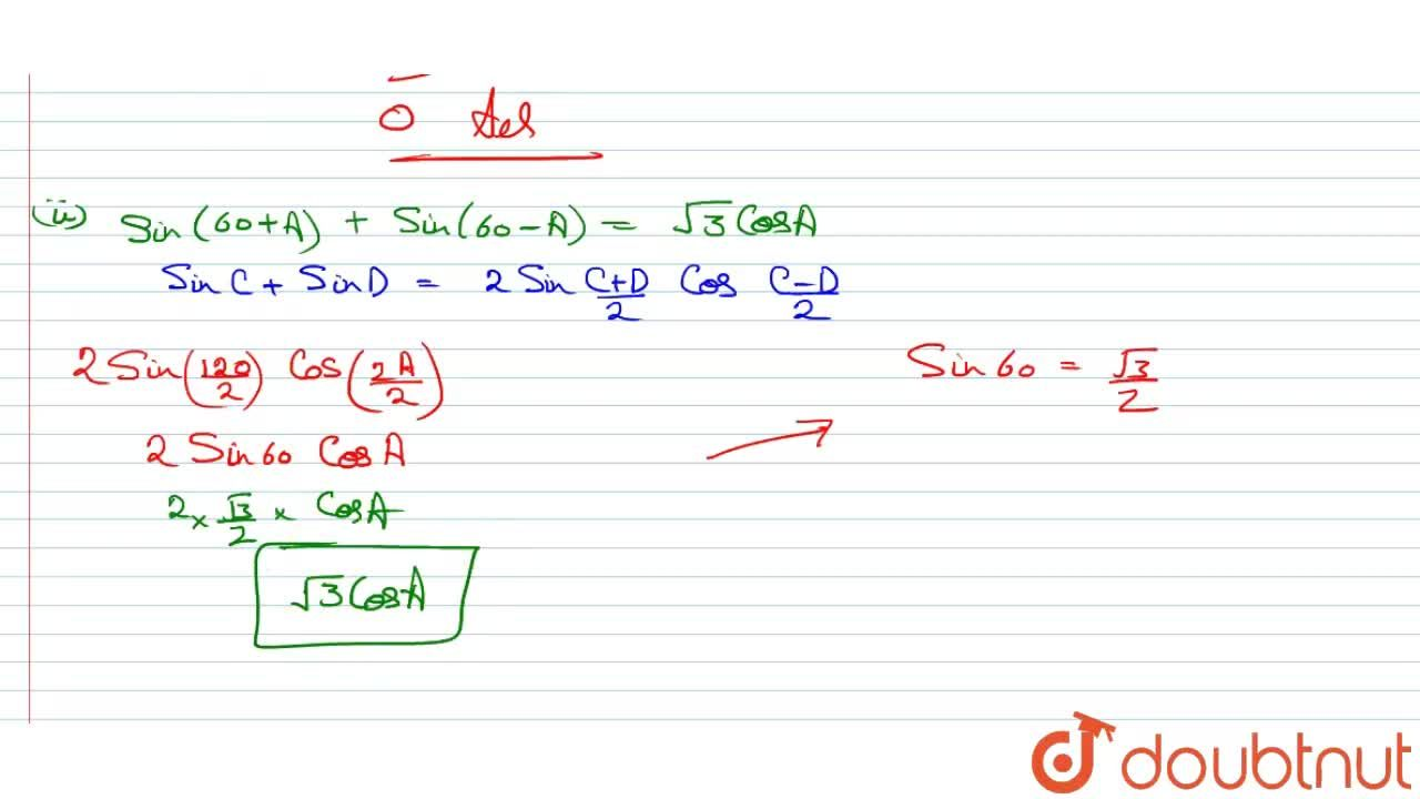 Solution for Prove that: <br> i) sin50^(@)-sin70^(@)+sin10^(@)