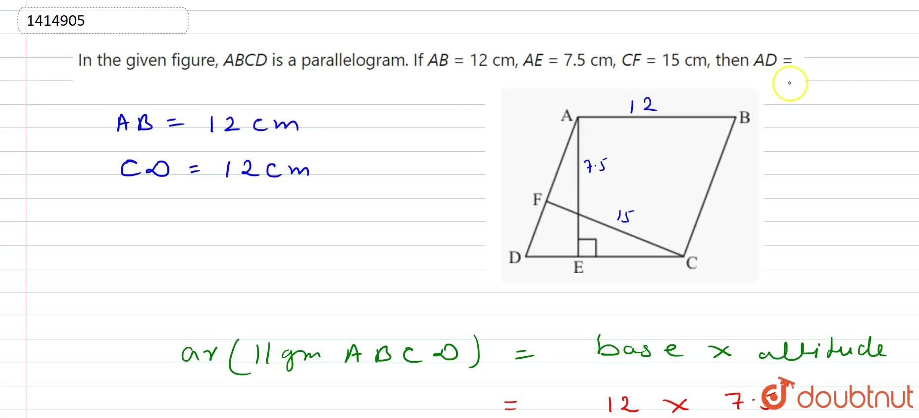 Solution for In Figure, A B C D is a parallelogram. If A B=1