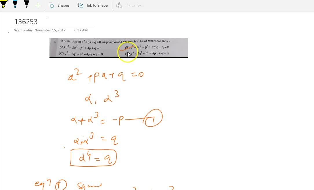 Solution for If both roots of  x^2+px+q=0 are positive and on