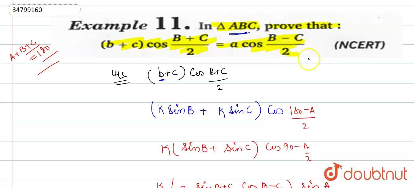 In DeltaABC, prove that: <br> (b+c)cos(B+C),(2)=acos(B-C),(2)