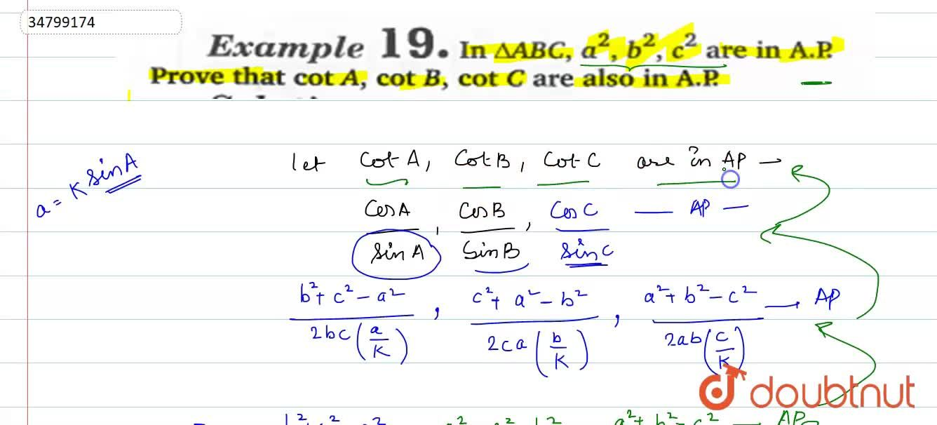 Solution for In DeltaABC, a^(2),b^(2),c^(2) are in A.P. Pro