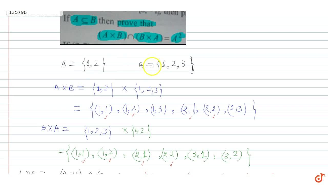 Solution for If A sube B then prove that  (AxxB)nn(Bxx A) =