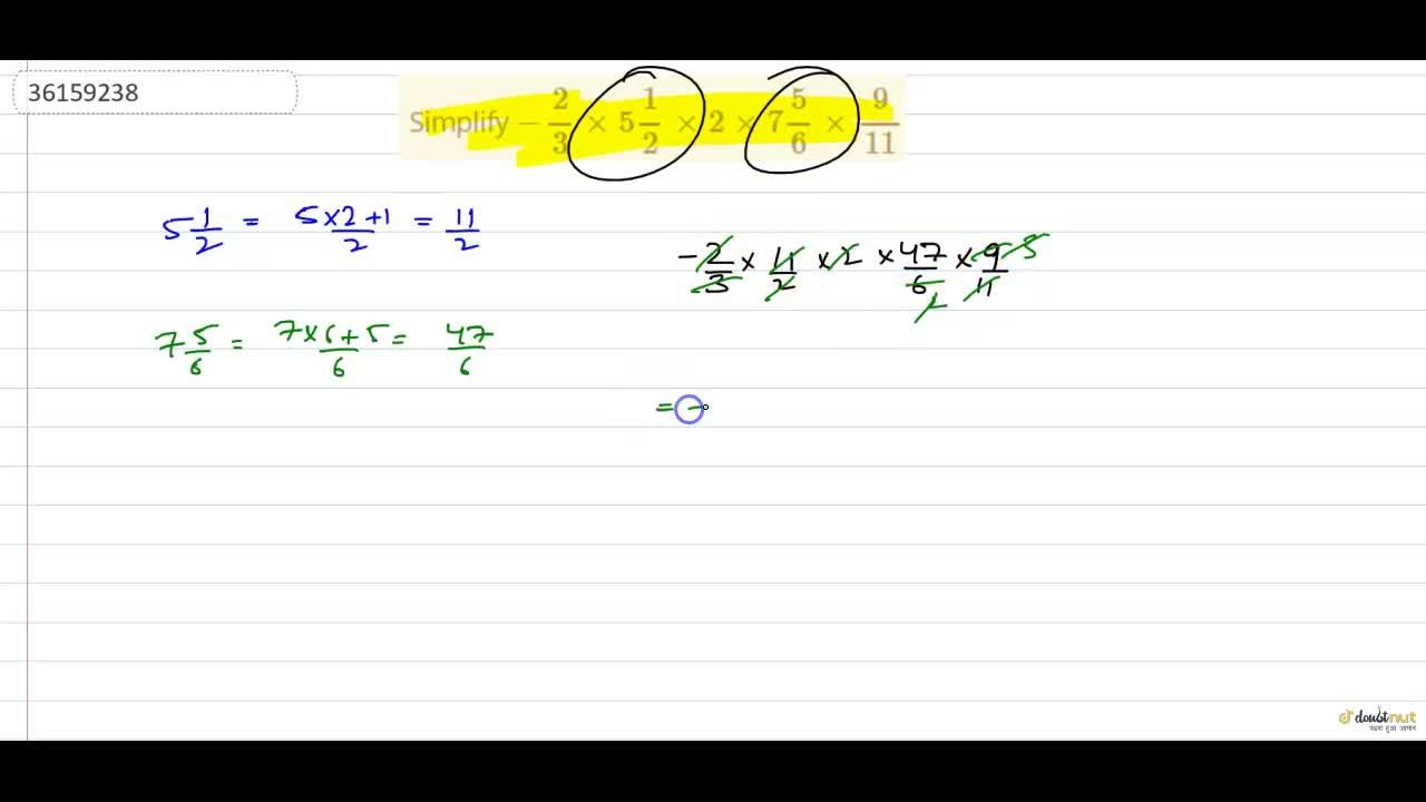 Solution for  Simplify -(2),(3)times5(1),(2)times2times7(5),(6