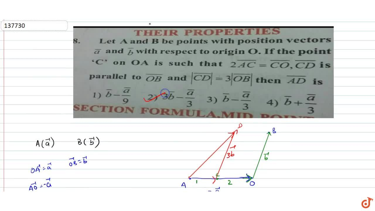 Solution for Let A and B be points with position vectors v