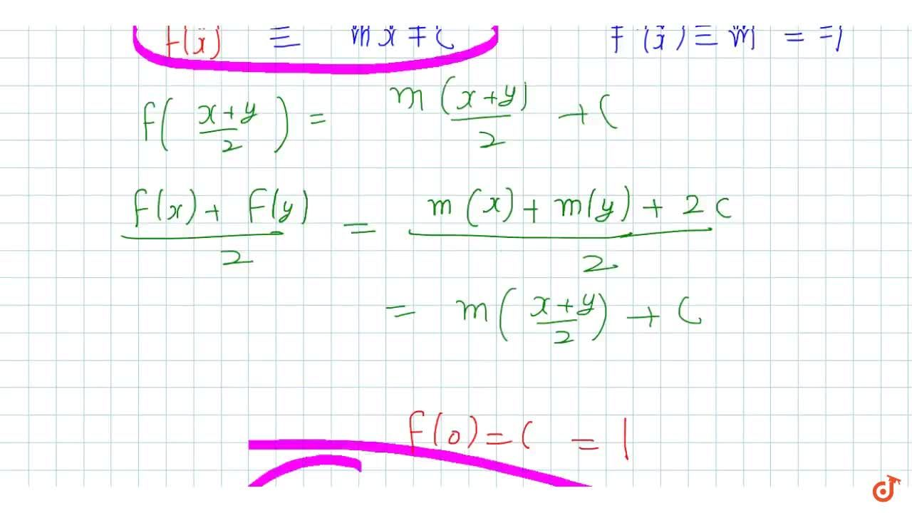 f((x+y),2)=(f(x)+f(y)),2 AA x,y in R and f(0) = 1 and f'(0) = -1 and function is differentiable for all x, then find  f(x).