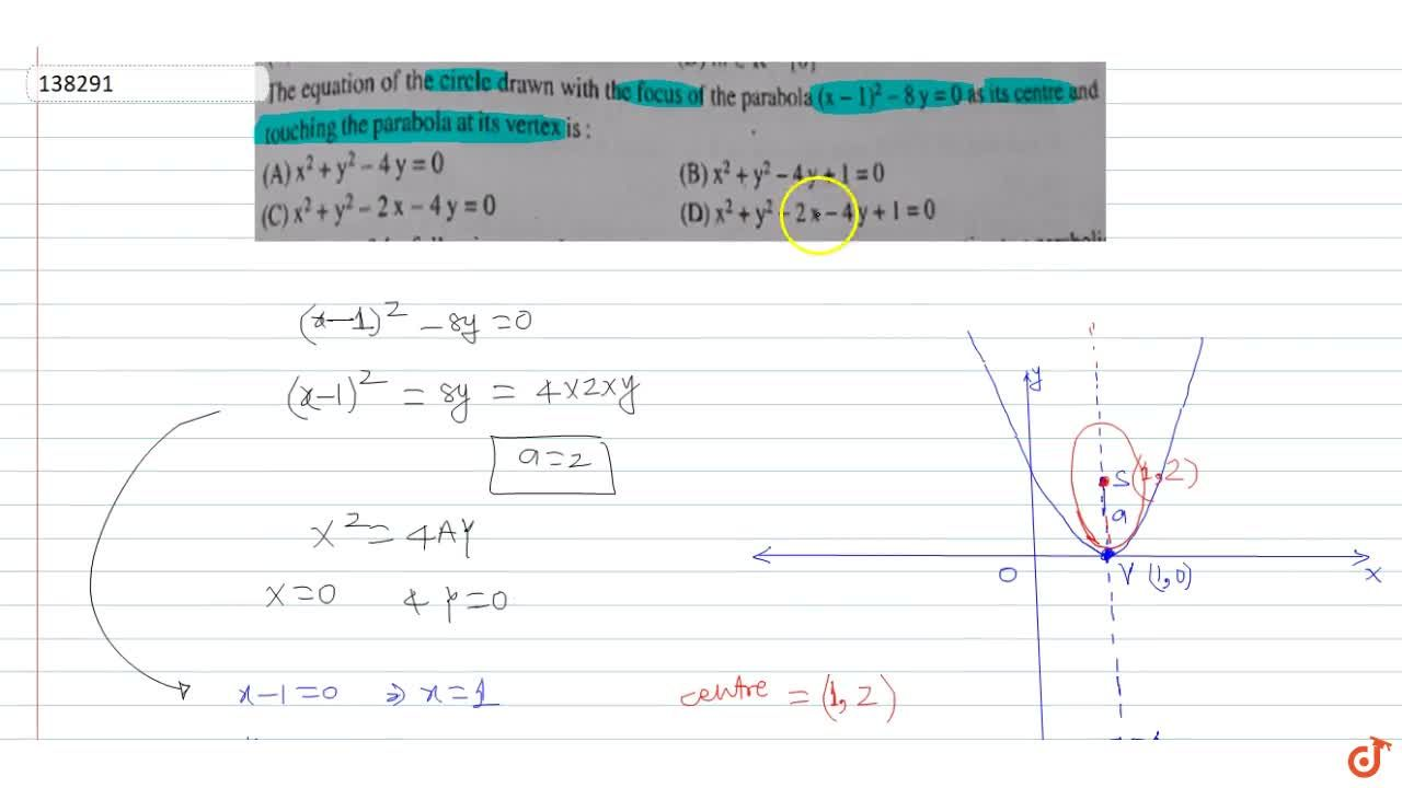 Solution for The equation of the circle drawn with the focus of
