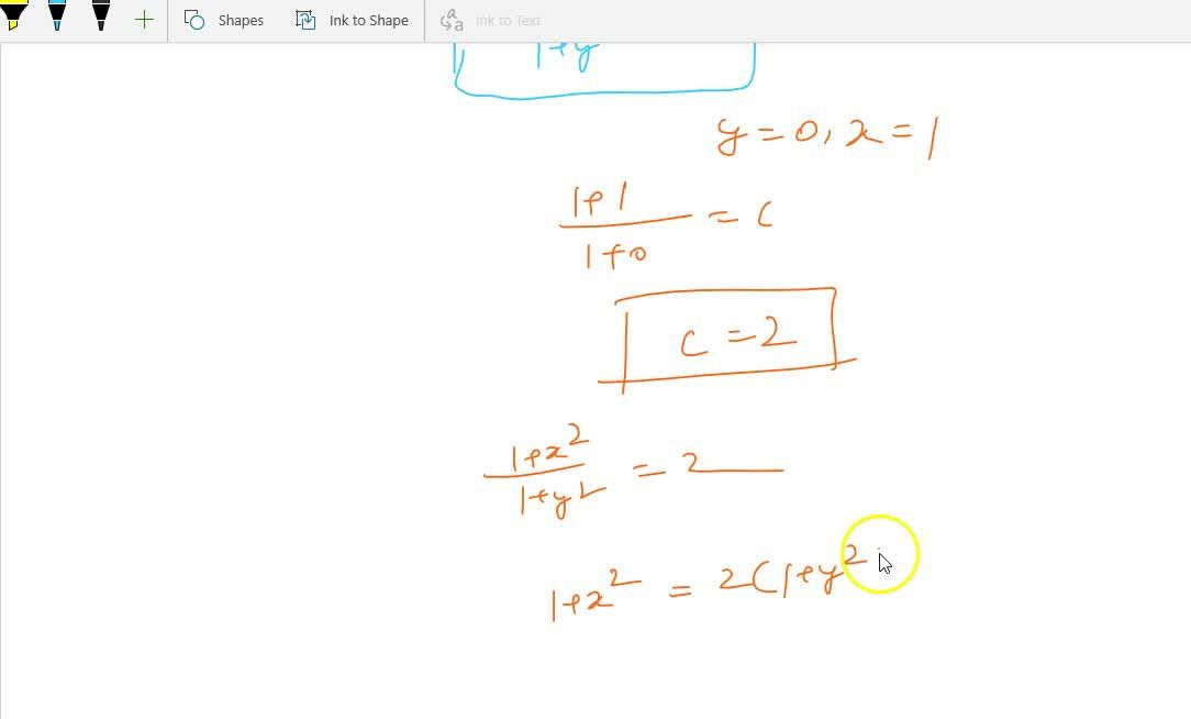 Solve the differential equation  x (1 + y^2) dx - y (1 + x^2) dy = 0, given that  y = 0, when