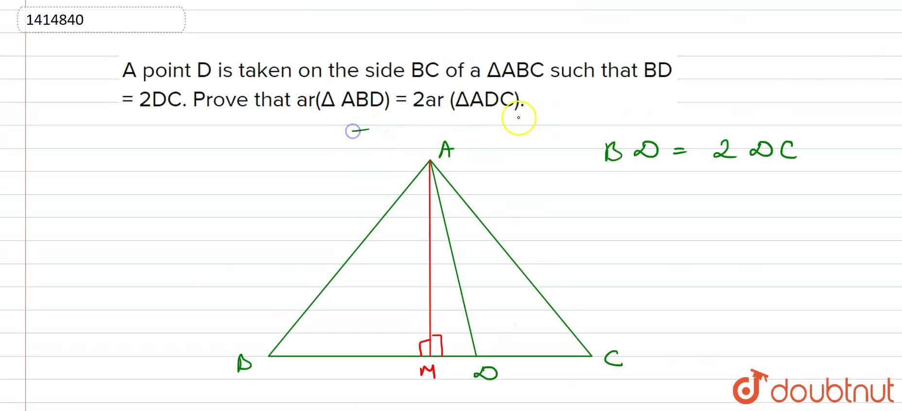 Solution for A point D is taken on   the side B C of a \