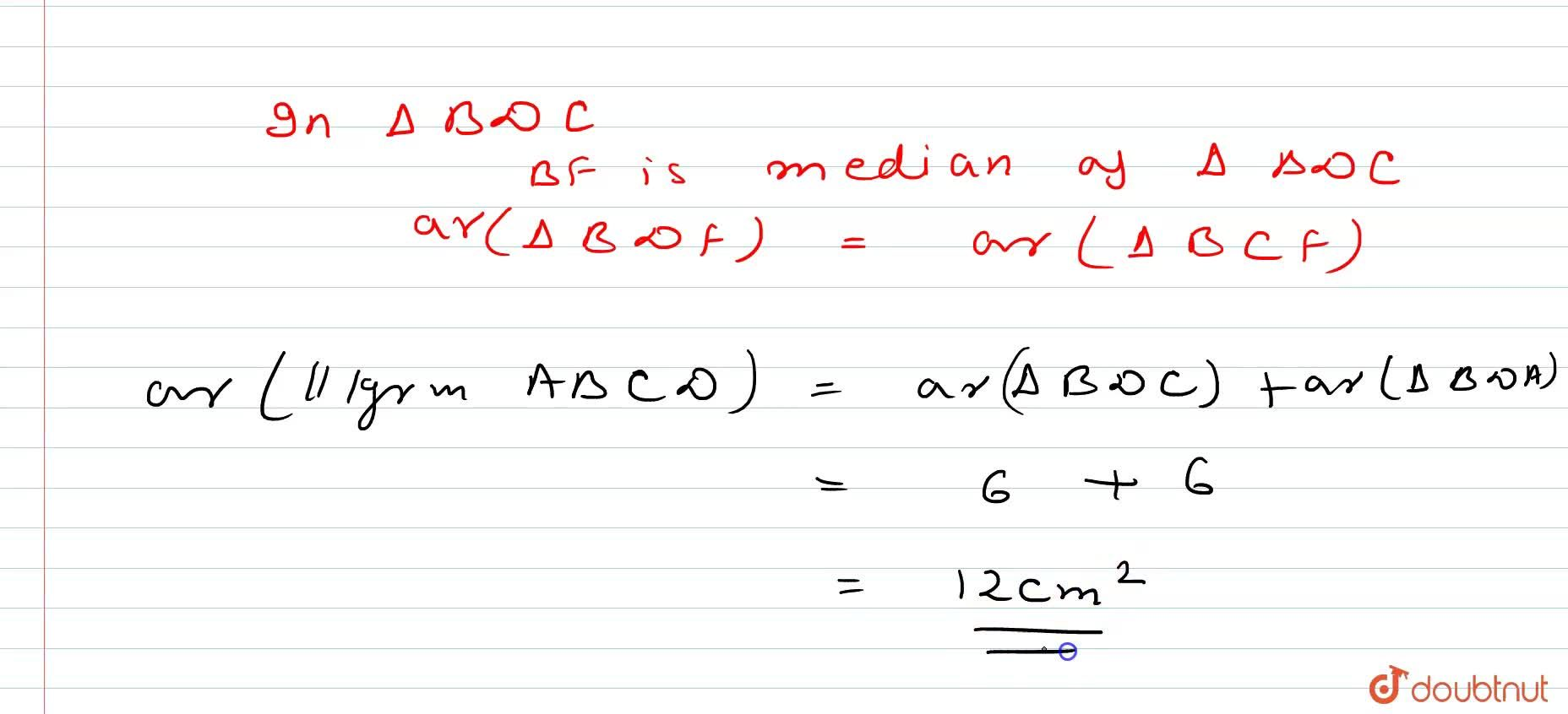 Solution for A B C D is a   parallelogram in which B C is