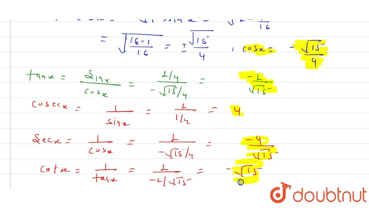 Solution for sinx=1,4, x in quadrant II. Find the values of o