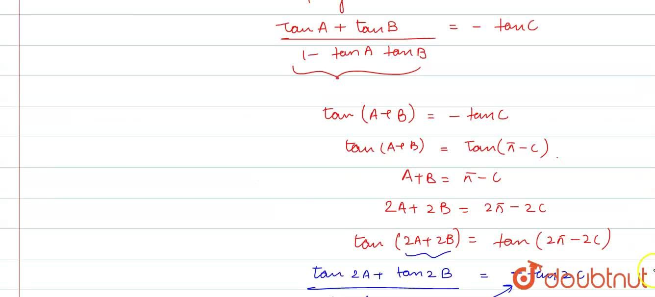 Solution for If x+y+z=xyz, prove by trignometry that: <br> (