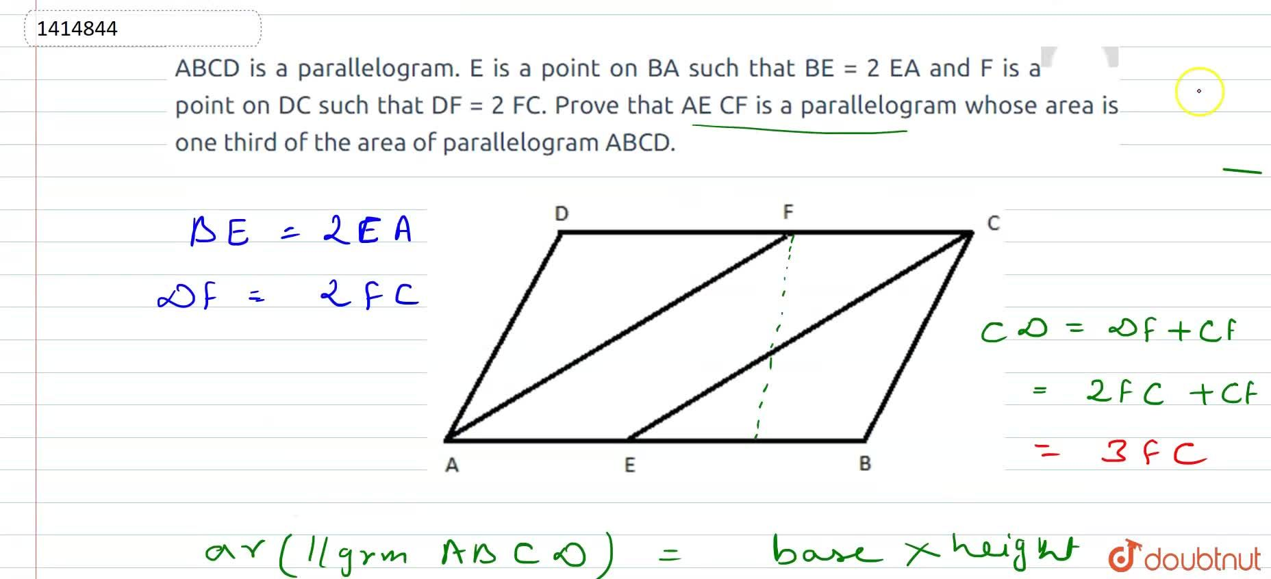 Solution for A B C D is a parallelogram. E is a point   on