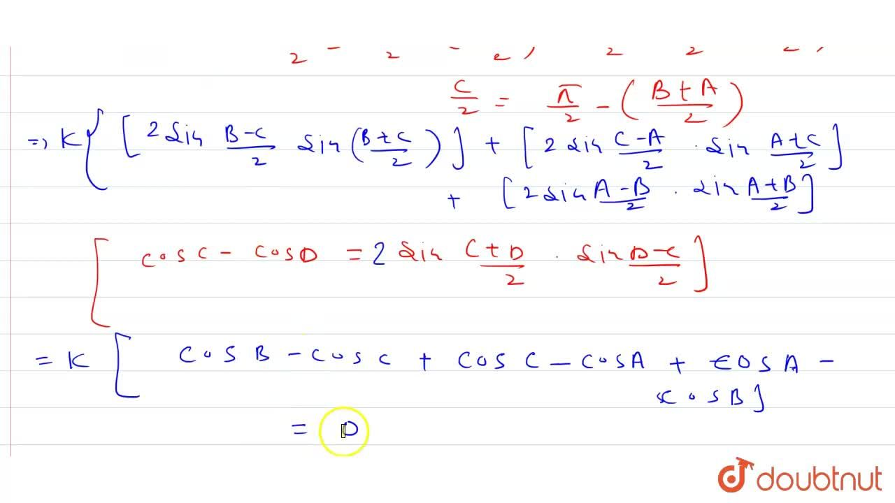Solution for In DeltaABC, <br> (b-c)cotA,2+(c-a)cotB,2+(a-b)