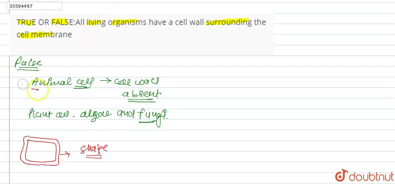 Solution for All living organisms have a cell wall surrounding