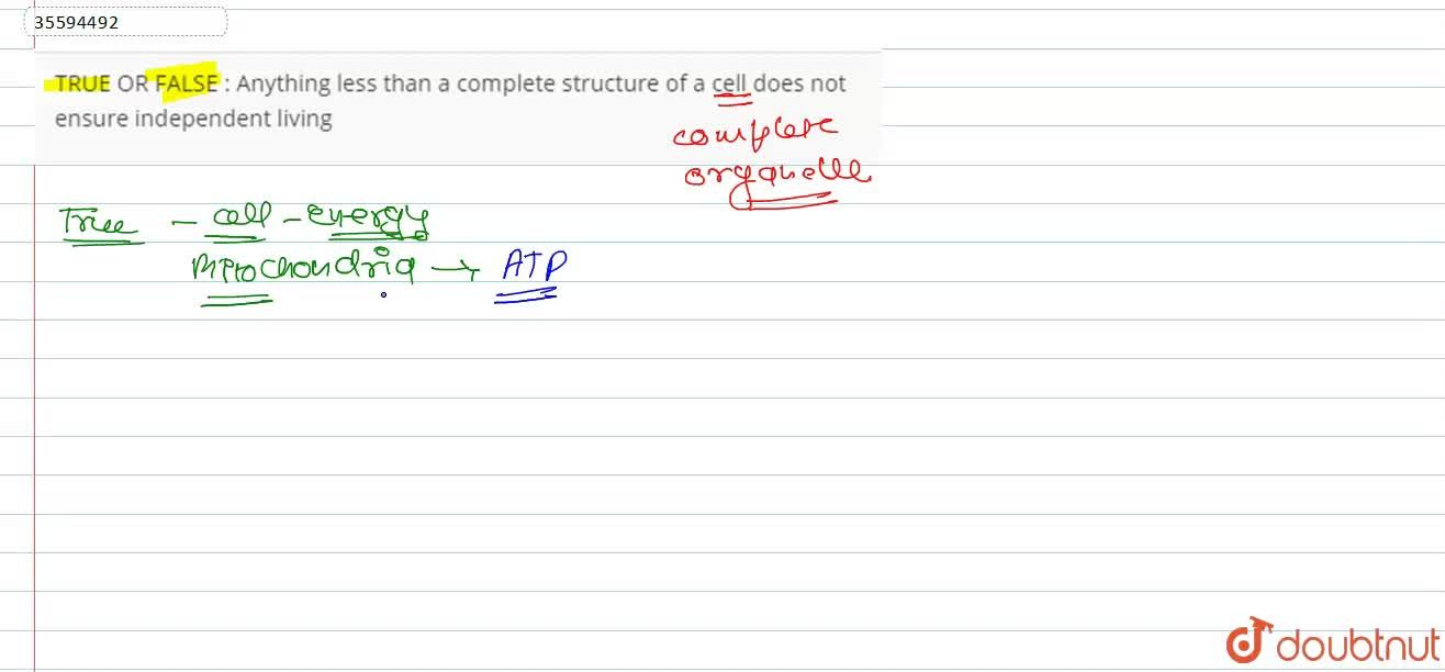Solution for Anything less than a complete structure of a cell