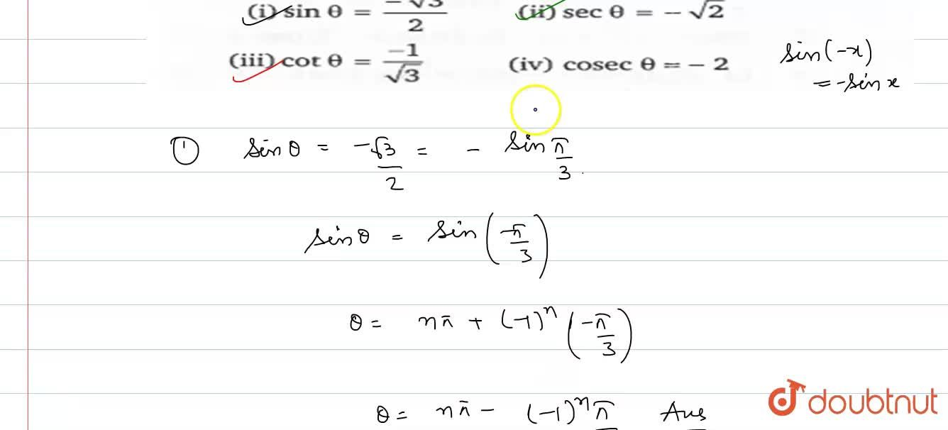 Solution for Find the general values of theta from the follow