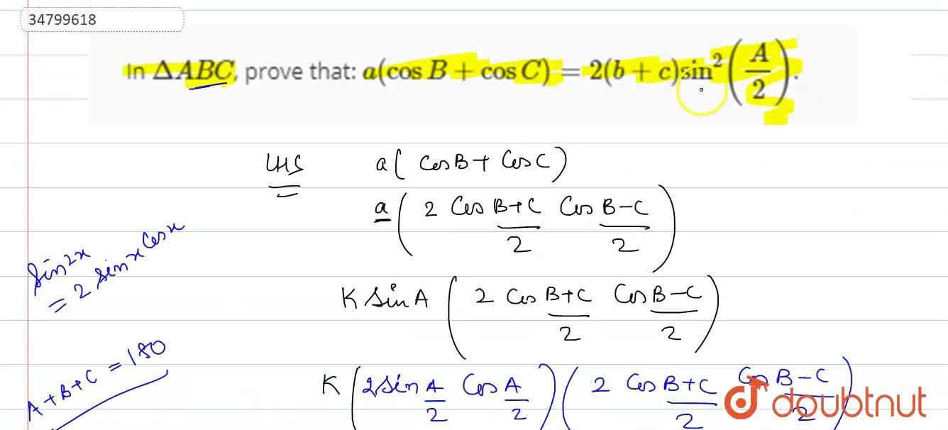 Solution for In DeltaABC, prove that: a(cosB+cosC)=2(b+c)sin