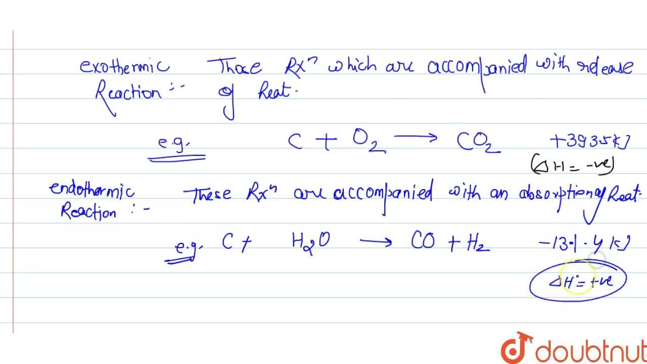 Solution for What do you undestand by exothermic reaction and e
