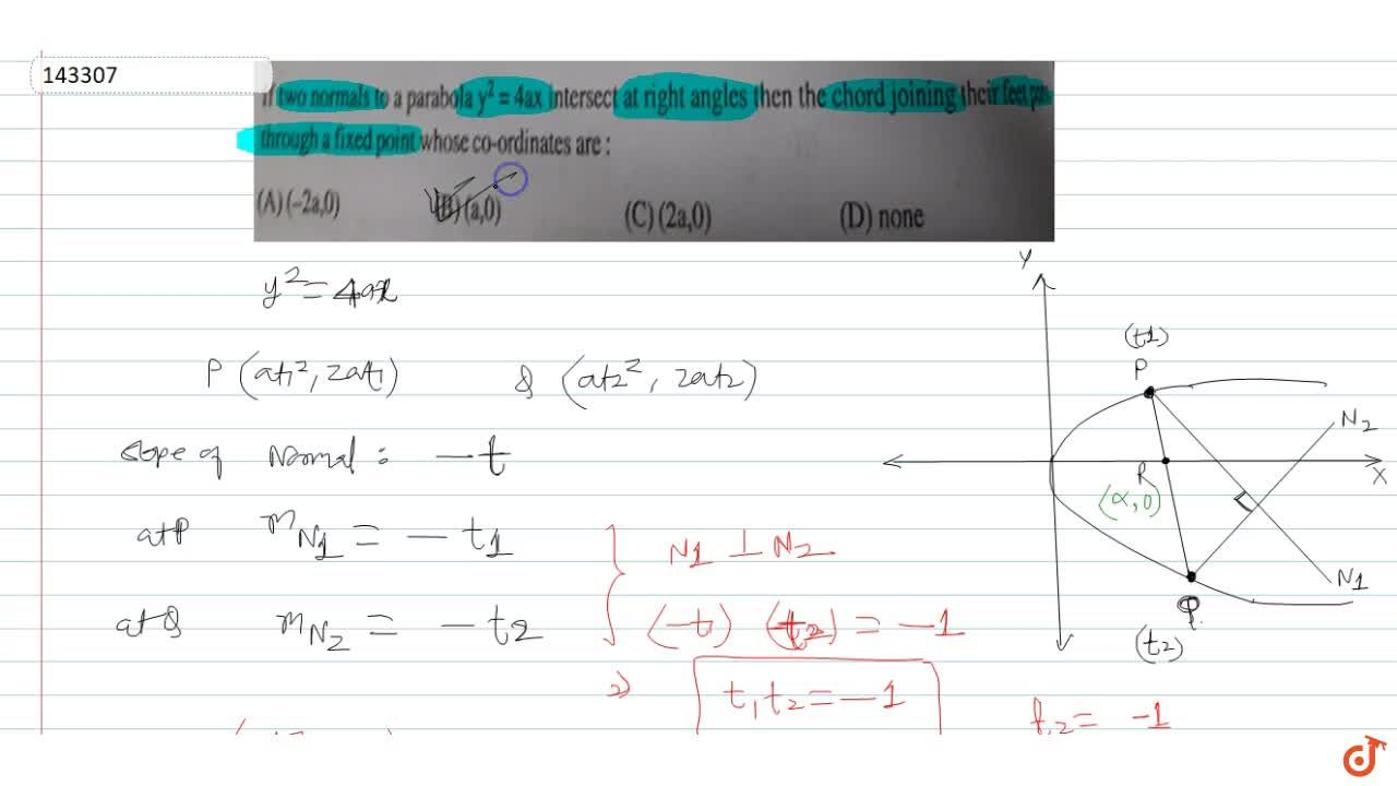 Solution for If two normals to a parabola y^2 = 4ax intersect
