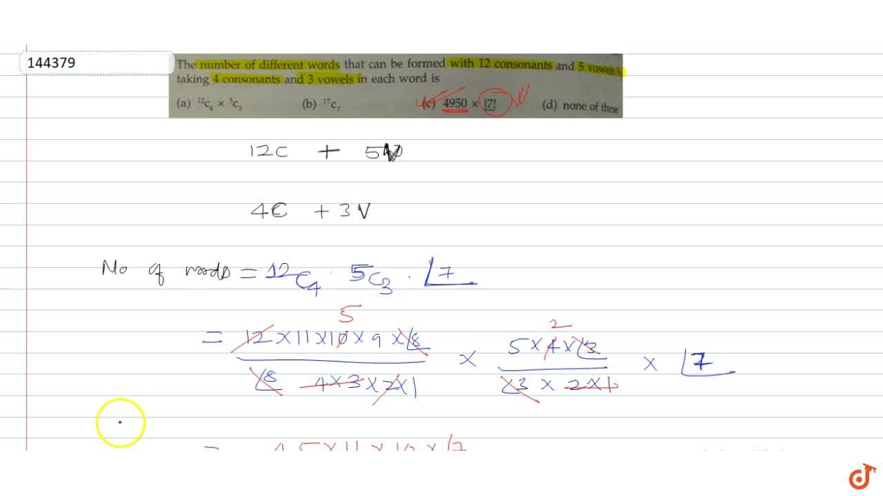 Solution for The number of different words that can be formed w