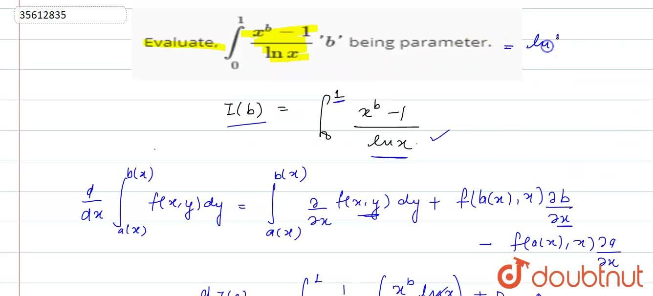 Evaluate, int_(0)^(1)(x^(b)-1),(lnx)'b' being parameter.