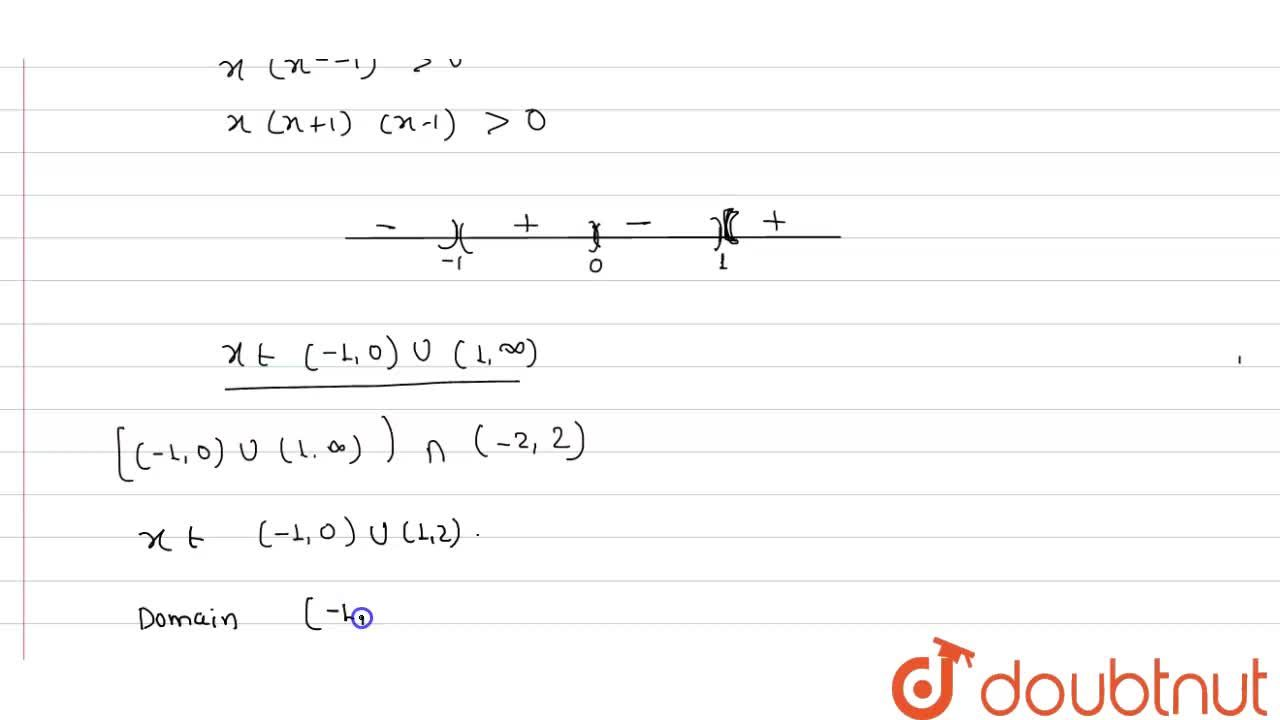 Find the domain of function f(x)=3,(sqrt(4-x^(2)))log(x^(3)-x)