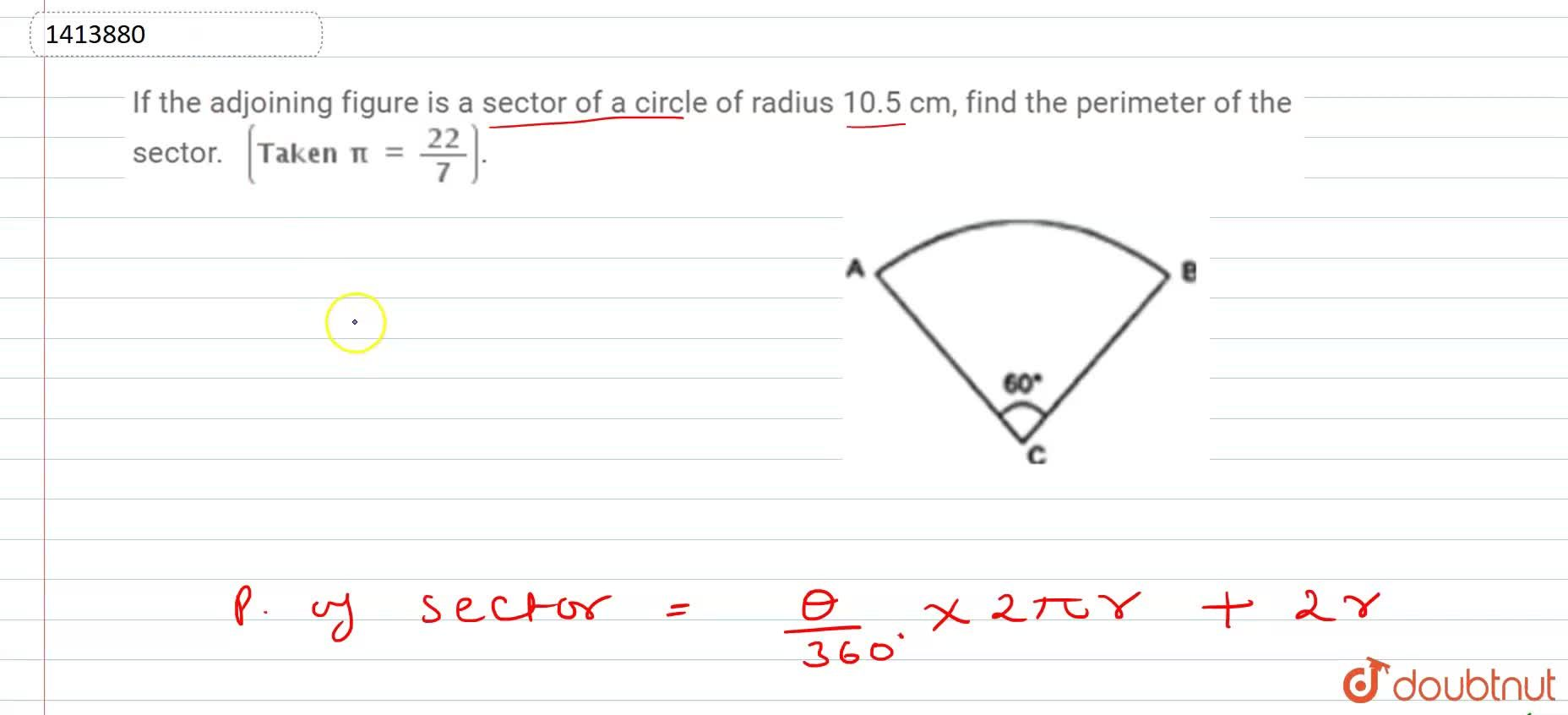 Solution for If the adjoining figure is a sector of a   circle