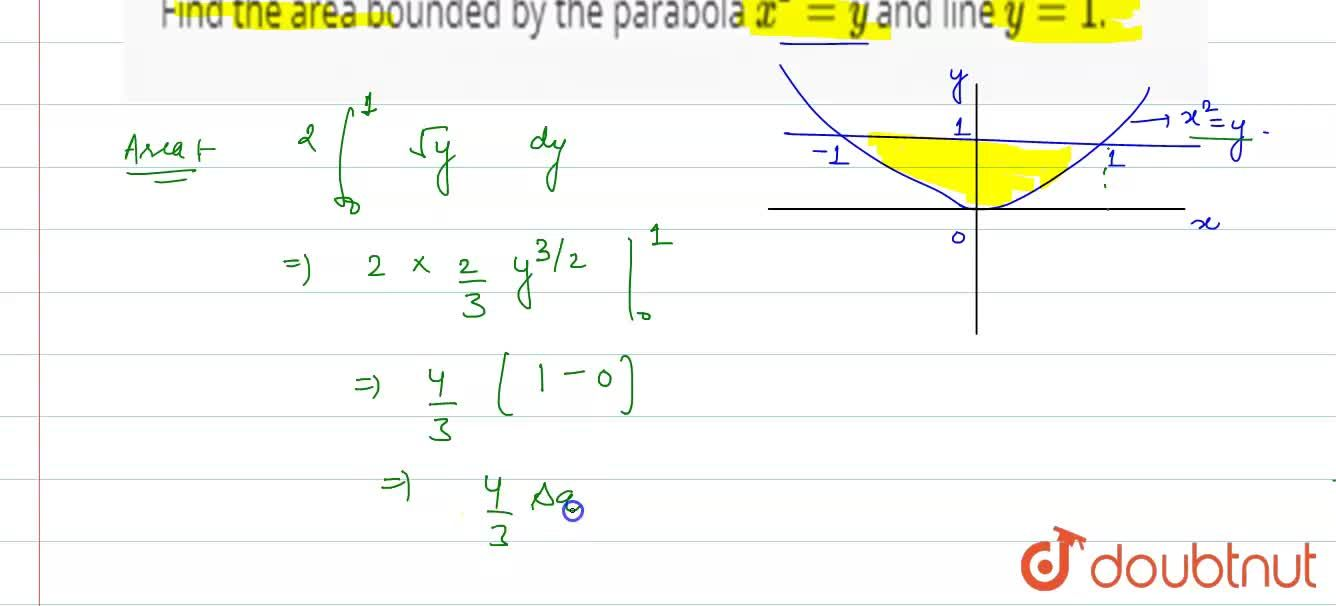 Solution for Find the area bounded by the parabola x^(2) = y