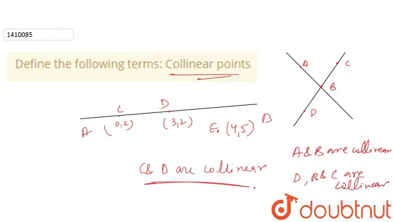 Solution for Define the following   terms: Collinear points