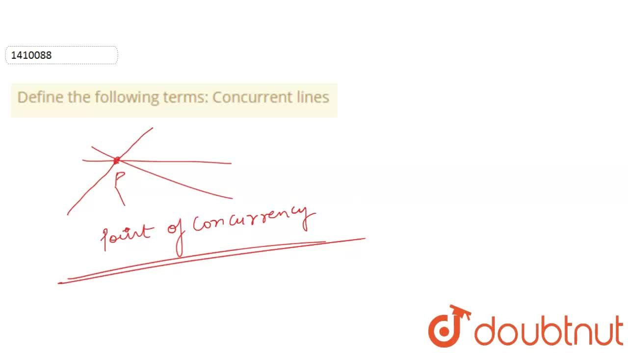 Solution for Define the following   terms: Concurrent lines