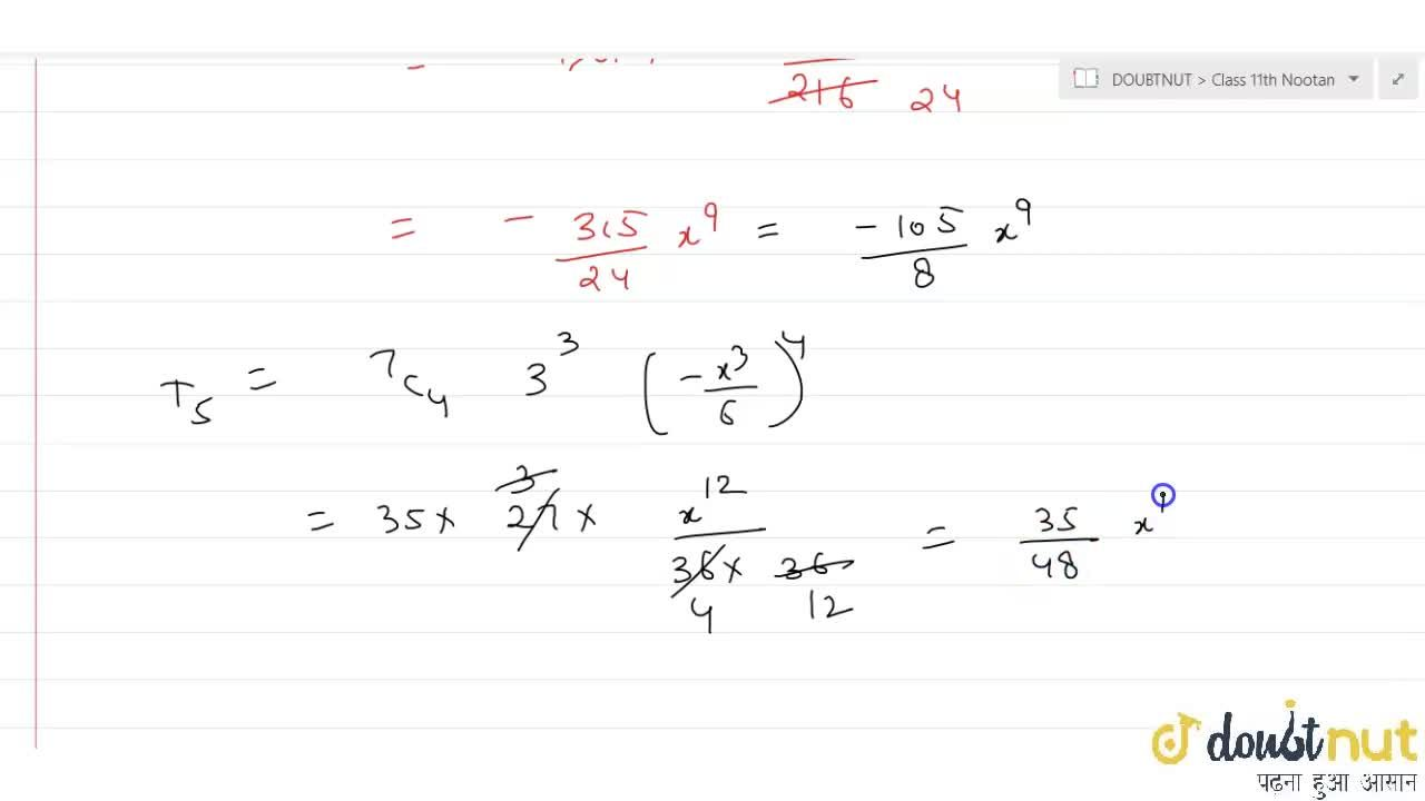 Solution for Find the middle term in the expansion of (3-(x^(3