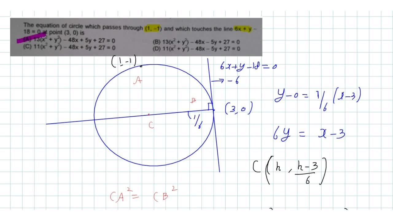 Solution for  The equation of circle which passes through (1, -