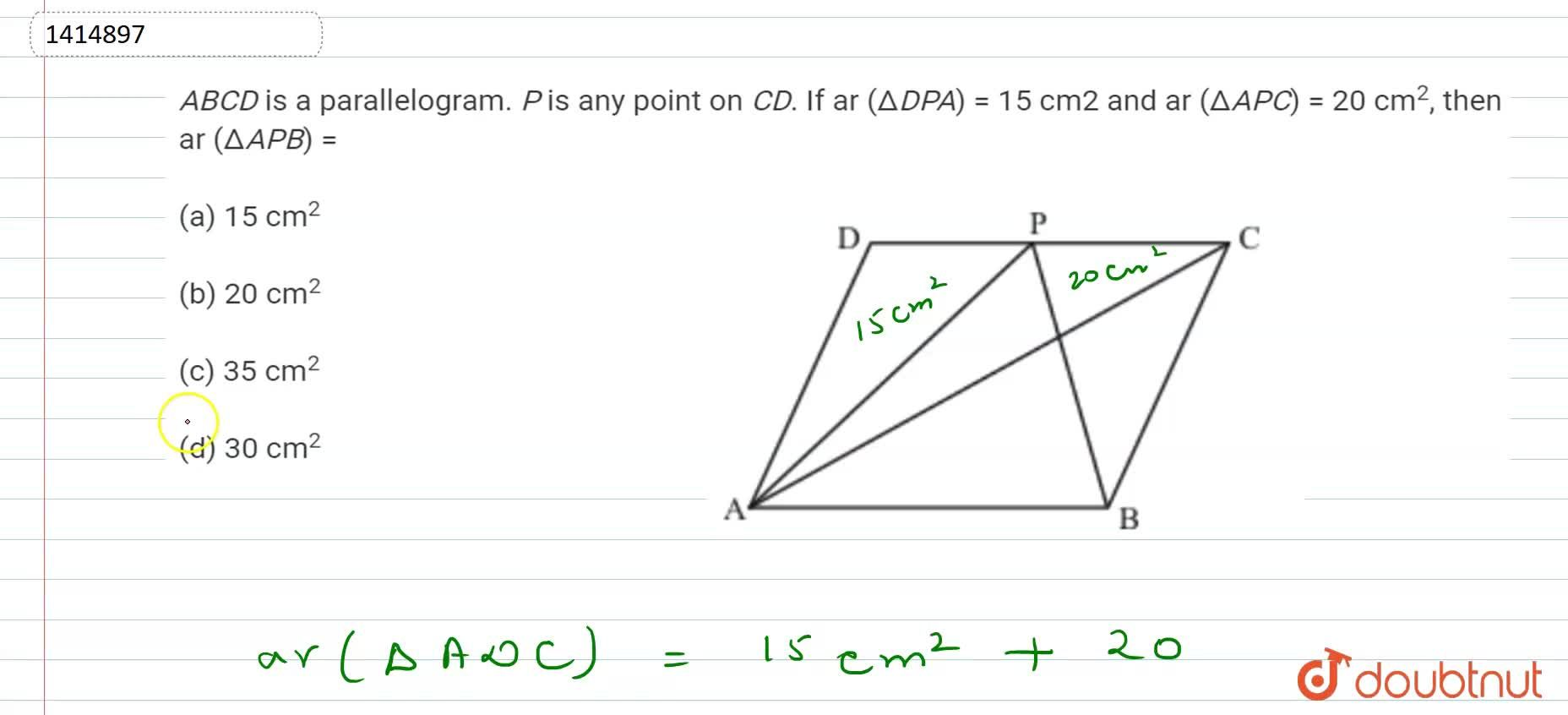 Solution for A B C D is a parallelogram. P is any   poin