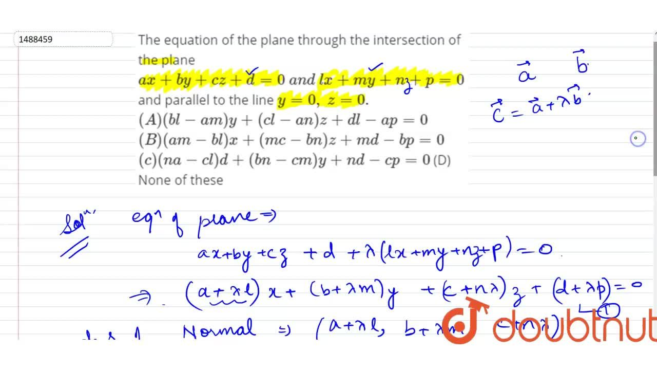 Solution for The equation of the plane through the intersection