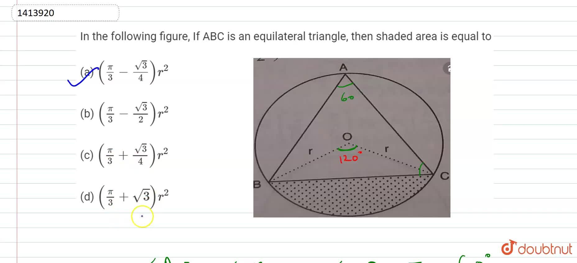 Solution for In Fig. 15.111, if A B C is an   equilateral tr
